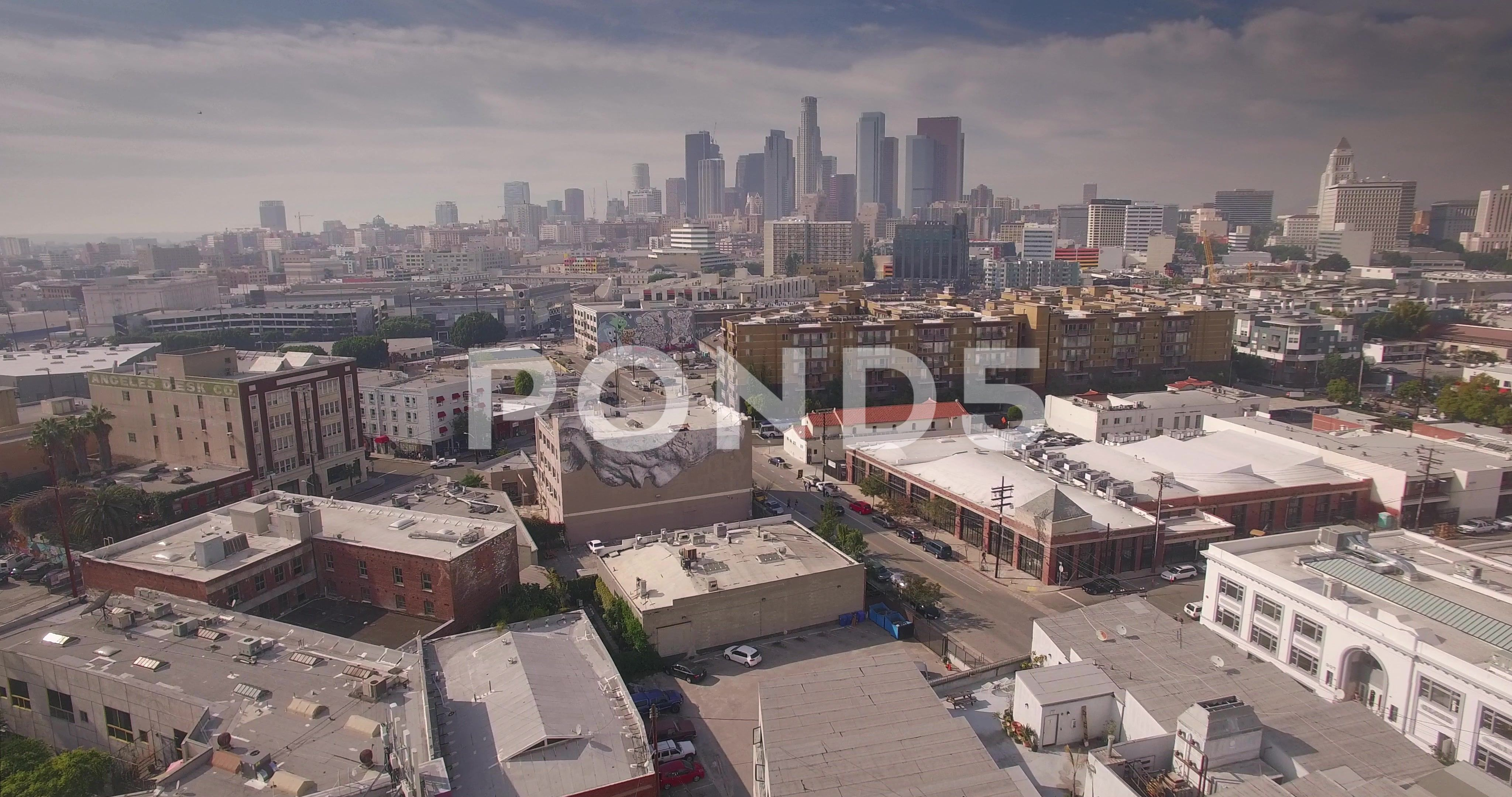 Aerial View Of Arts District With Downtown Los Angeles Skyline In Background Stock Footage District Downtown Arts Ae Los Angeles Skyline Skyline Arts District