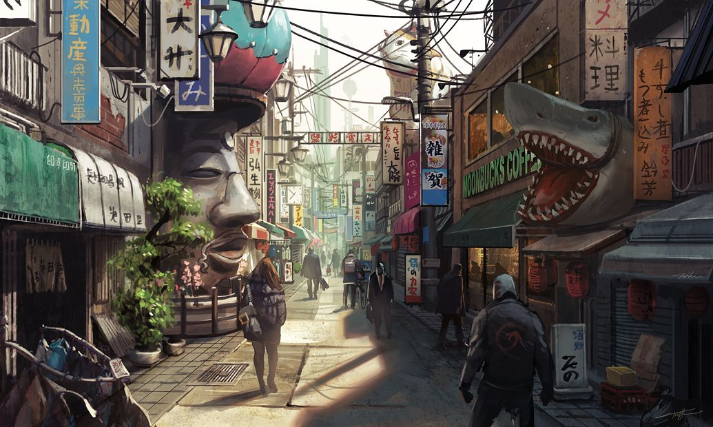 Outstanding Concept Art By Tony Holmsten Anime City Environment