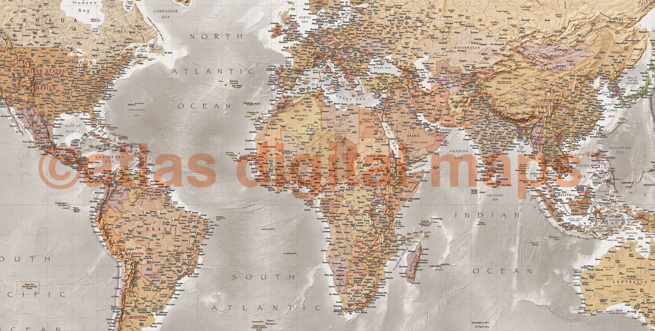 World map canvas antique style physical political large map of the sale world map canvas antique style physical political large map of the world stone stretchedlarge gumiabroncs Gallery