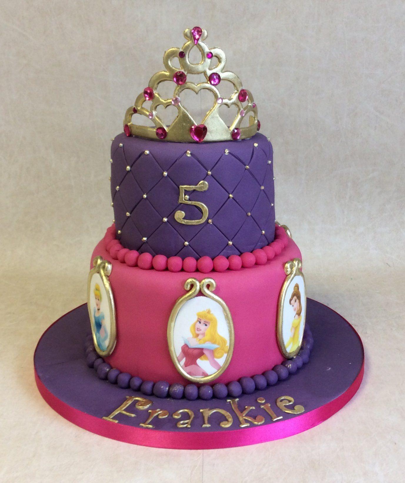 Terrific 2 Tier Purple Pink Theme Disney Princess Birthday Cake Disney Funny Birthday Cards Online Alyptdamsfinfo