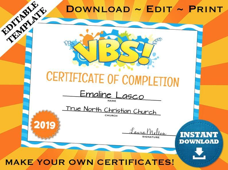 VBS Certificate of Completion Editable Template School