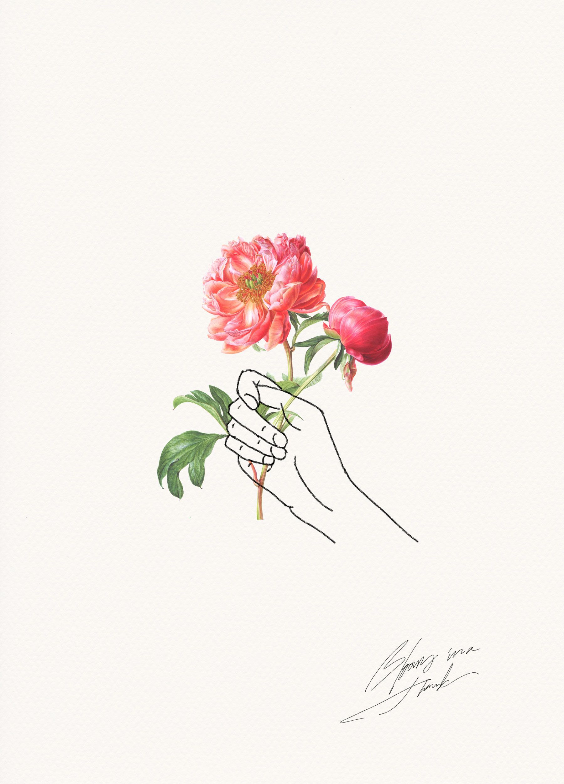 Holding flowers flowers illustrations and tattoo for Hand holding a rose drawing