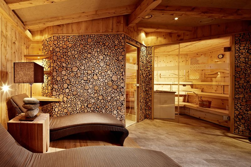 love the lodge feel of this lounge sauna rustic materials but with modern shapes and lines. Black Bedroom Furniture Sets. Home Design Ideas