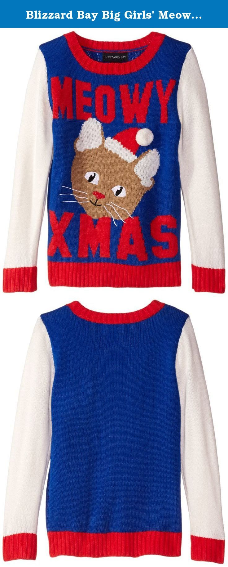 Blizzard Bay Big Girls\' Meowy Xmas Kitty Christmas Sweater, Blue/Red ...