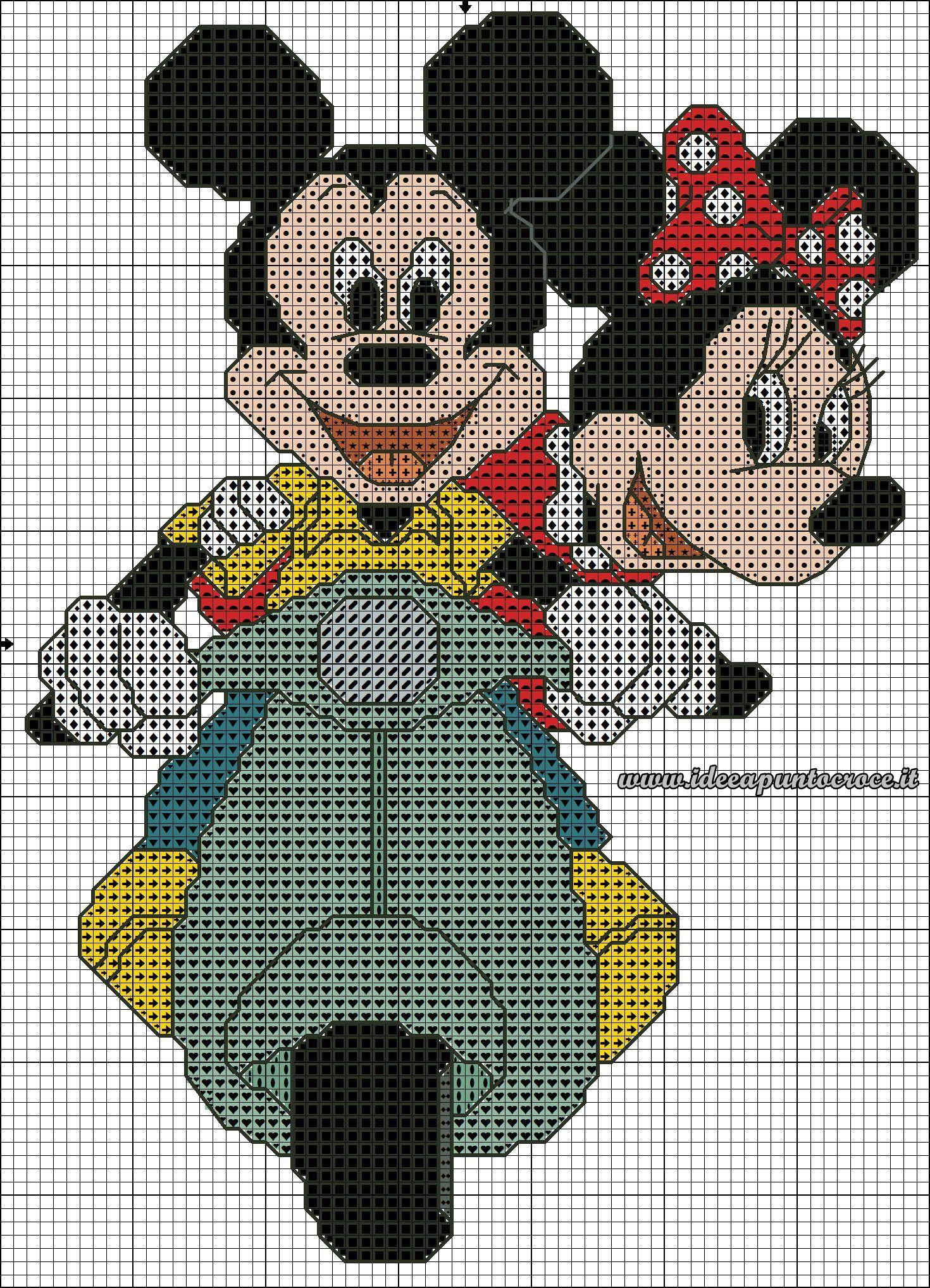 Schema Punto Croce Topolino E Minnie In Vespa Disney Cross Stitch