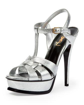 accc6e81061 Saint Laurent Tribute Metallic Leather Platform Sandal