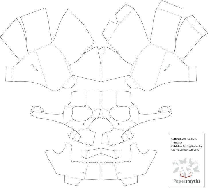 3d Paper Skull Template 3d Sculpture Print The 3d Sulpture Yourself 3dsculpture 3dfile 3d Paper Sku Paper Mask Template Skull Template Halloween Paper