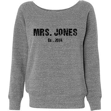 Mrs. Wide Neck Sweatshirt Junior Fit Bella Triblend Slouchy Wideneck Sweatshirt