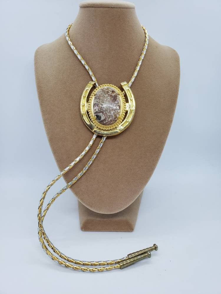 Vintage Double Strand Chain Necklace With Double Horseshoe Shaped Pendant Gold Tone Metal Necklace Fashion Jewelry