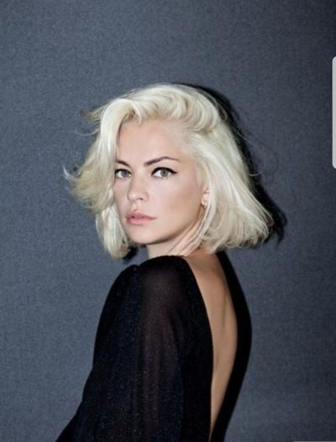 Funky platinum blonde bob dark eyebrows get your hair did