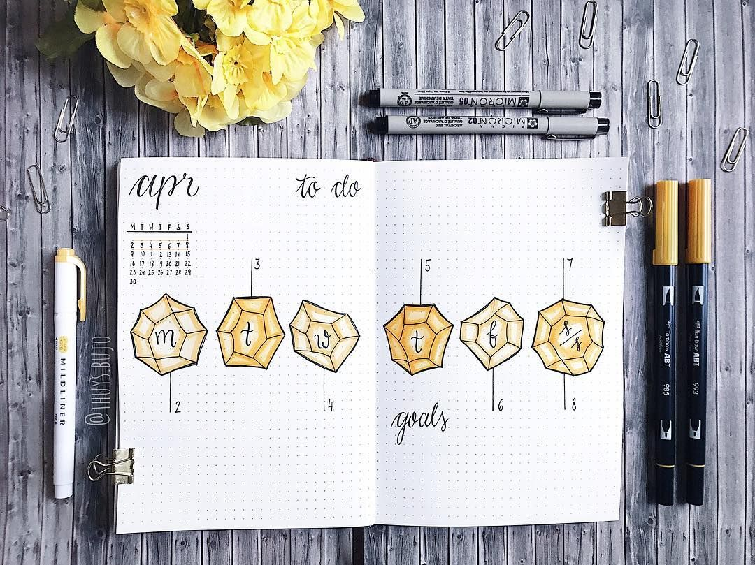 Bullet Journal Weekly Layout Crystal Drawings Hand Lettering
