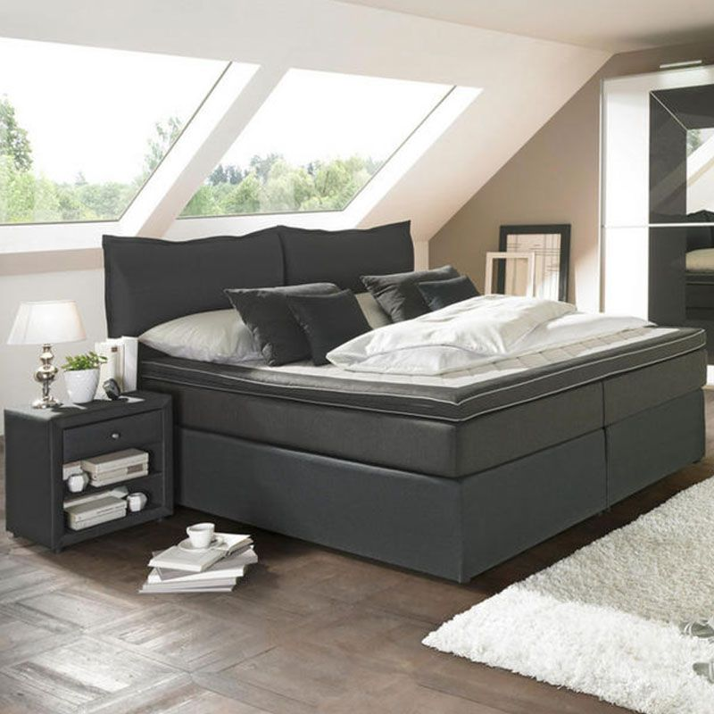 Boxspringbett 140 200 Cm In Anthrazit Blau In 2020