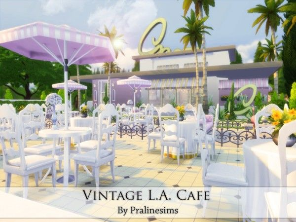 The Sims Resource: Vintage L.A. Cafe by Praline Sims • Sims 4 Downloads