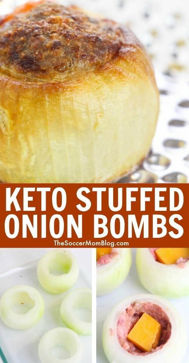 Learn how to make keto stuffed onion bombs! These onion bombs are overflowing with delicious meat and cheese! If you are on the keto diet then this recipe is perfect for your next dinner meal! Try making these keto stuffed onion bombs today. #keto #lowcarb #glutenfree #ketogenic #recipes #VeryLowCarbRecipes