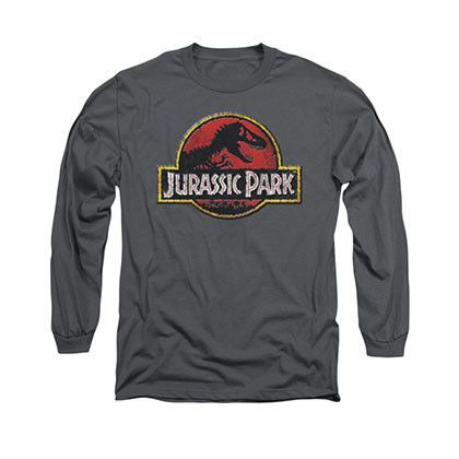Jurassic Park Stone Logo Gray Long Sleeve T-Shirt