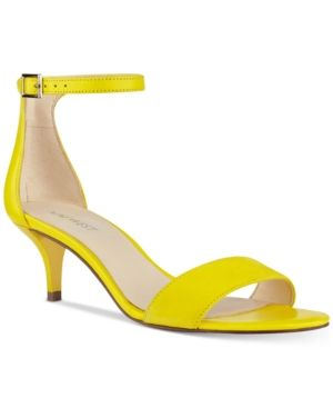 a144e027afd Nine West Leisa Two-Piece Kitten Heel Sandals - Yellow 10.5M