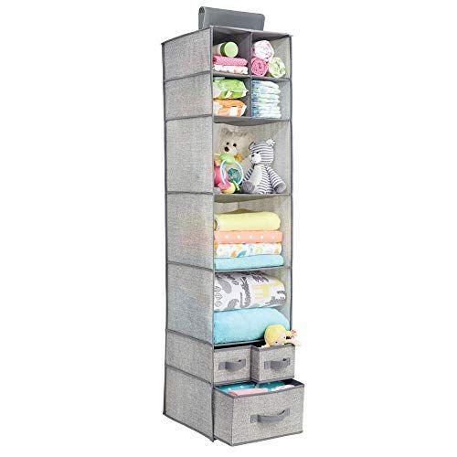 mDesign Soft Fabric Over Closet Rod Hanging Storage Organ ...