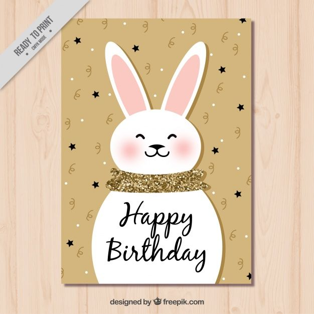 Cute Bunny Birthday Card Free Vector
