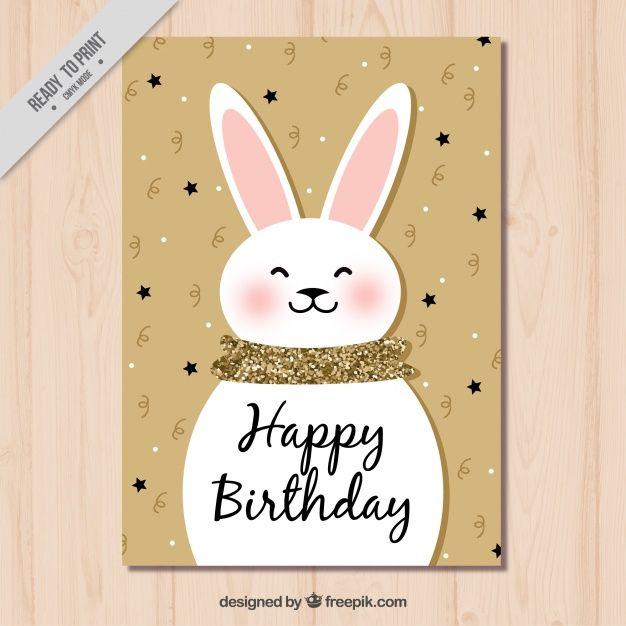 Cute Bunny Birthday Card Free Vector