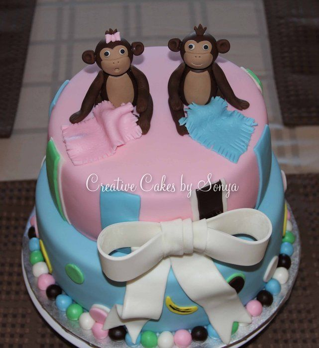 baby shower cakes for twin boy and girl monkey twins baby shower