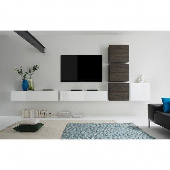 Wohnwand Cube LC (6 Teilig)   Hochglanz Weiß / Eiche Wenge Dekor | Home24