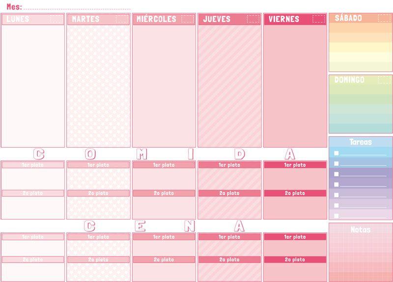 Planificador semanal mod colores dise o gr fico pinterest el corcho mesas de trabajo y - Plantilla calendario de mesa ...