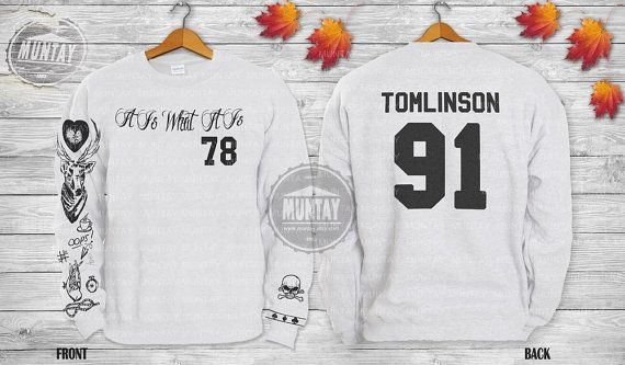 Louis Tomlinson 91 Jersey Hoodie Sweatshirt Jumper Pullover Unisex Black Grey