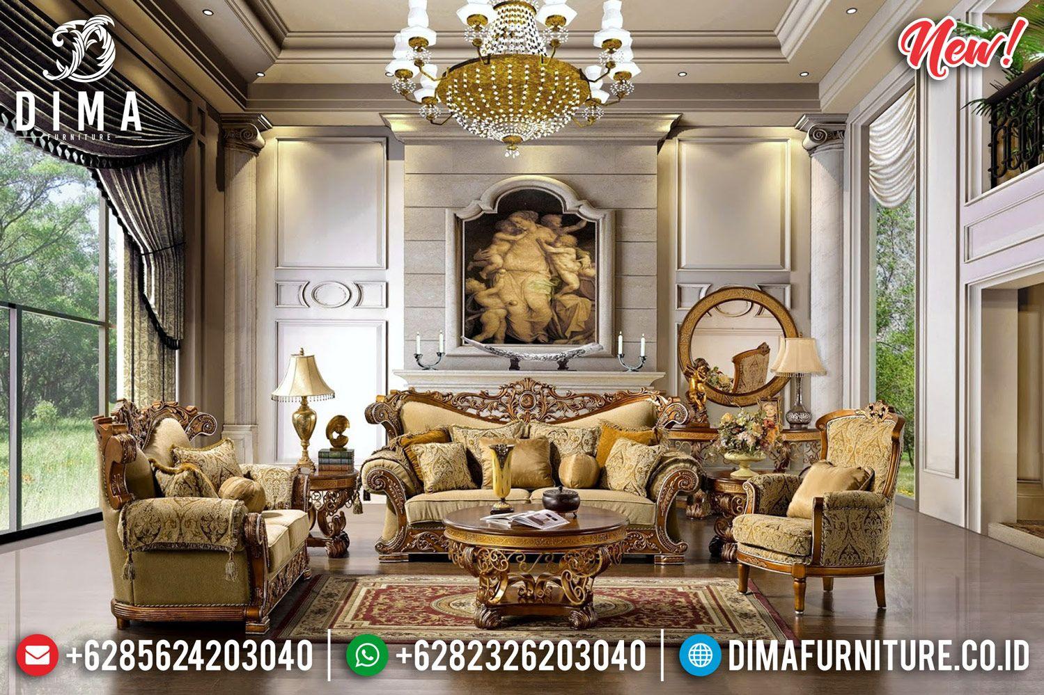 Sale Model Terbaru Set Kursi Sofa Tamu Mewah Gold Duco Df 1253 Luxury Furniture Living Room Living Room Sofa Set Wooden Sofa Set