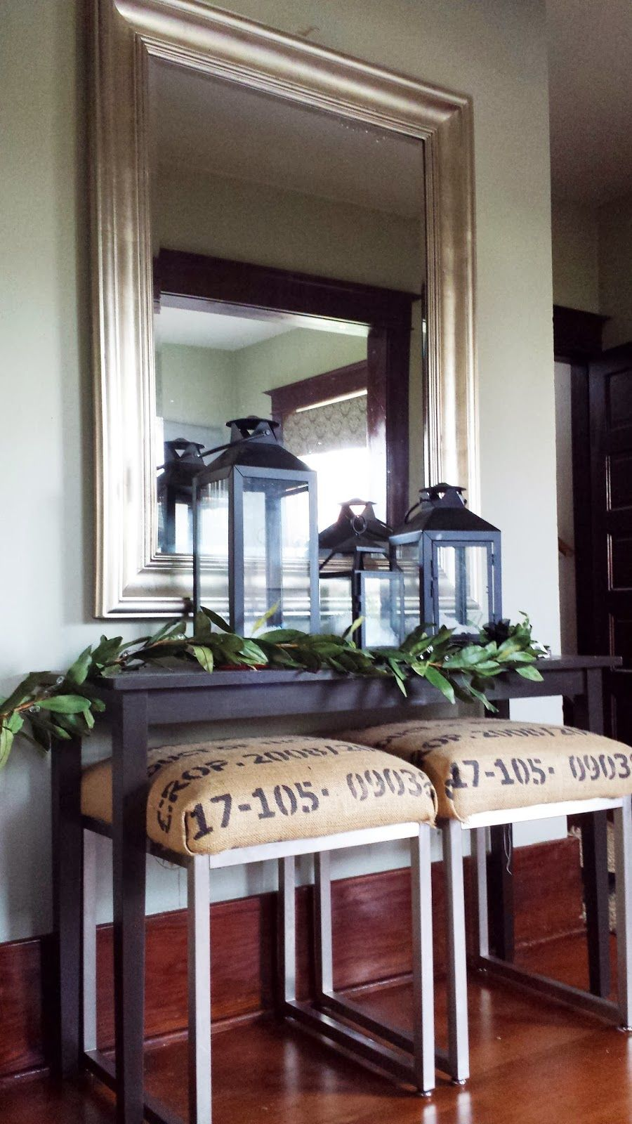 Simple Entry Table Burlap Covered Stools Lanterns Bay Leaf