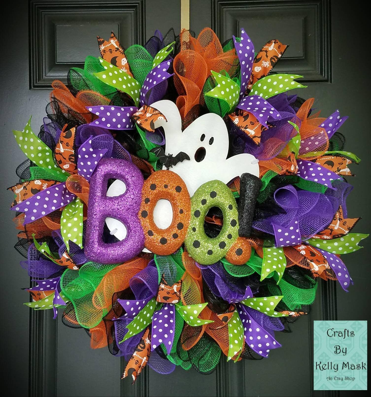 Spooky and Beautiful Ghost Halloween Wreath. Deco Mesh