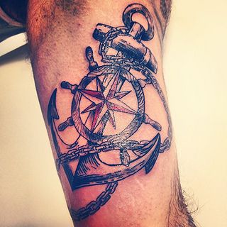 3f1839200 Anchor Tattoo With Ship Steering Wheel | Inkspiration | Anchor ...