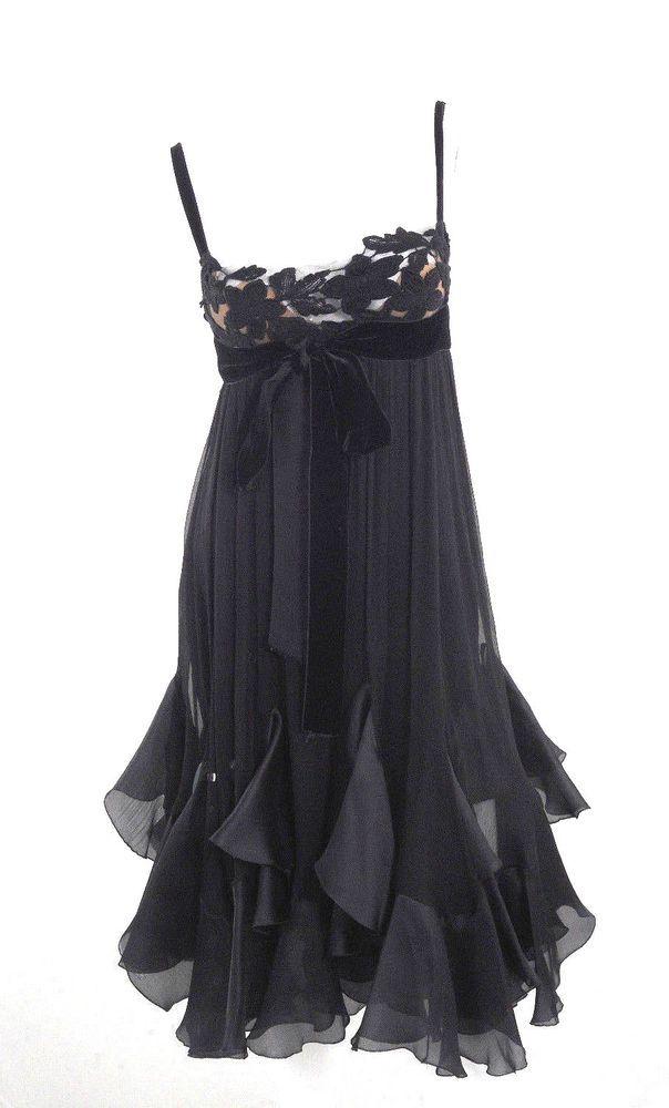 ELIE SAAB BLACK SILK CHIFRON EVENING DRESS 38 #ElieSaab #Formal
