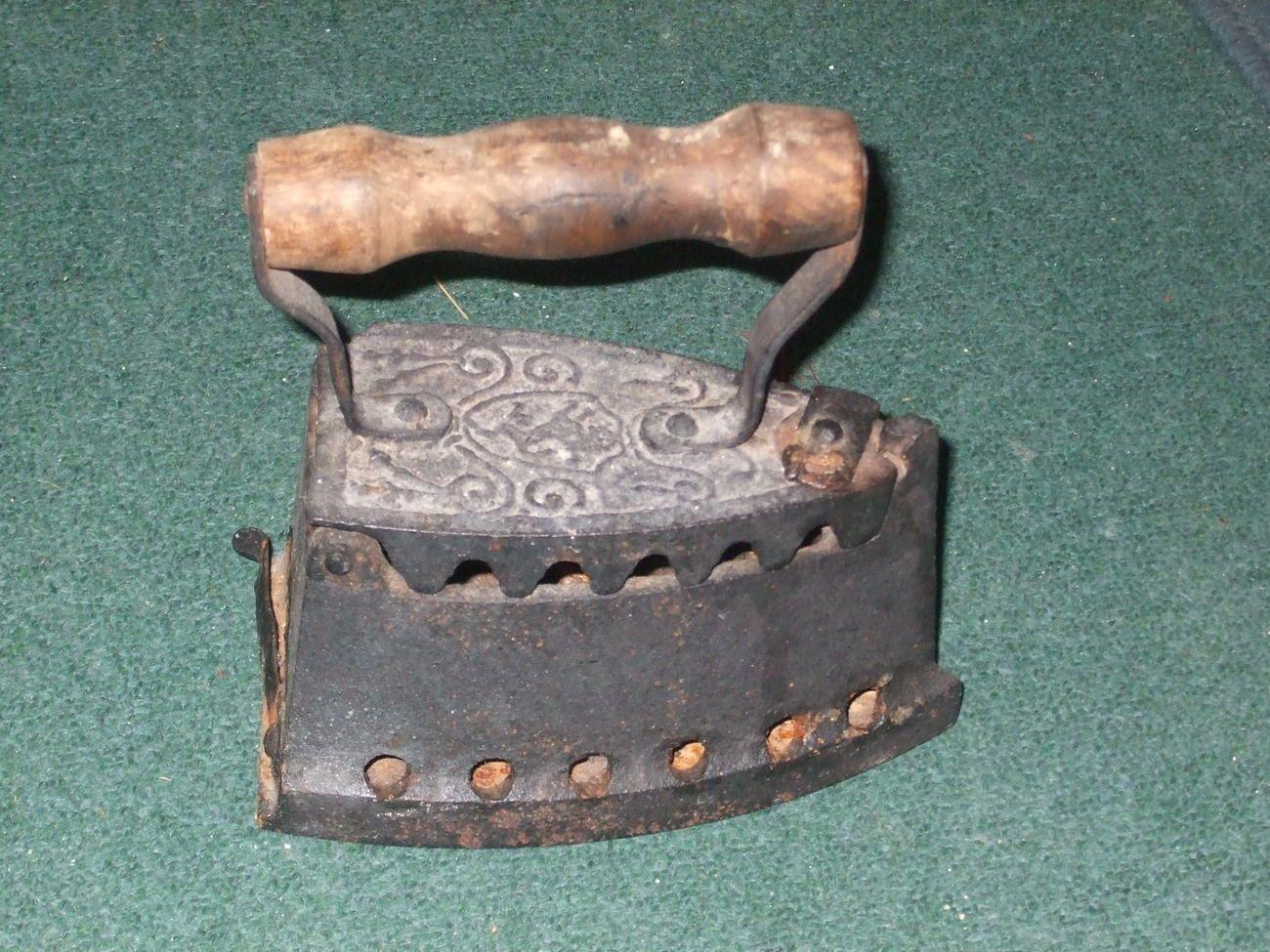 Vintage Coal Clothes Iron Wood Handle