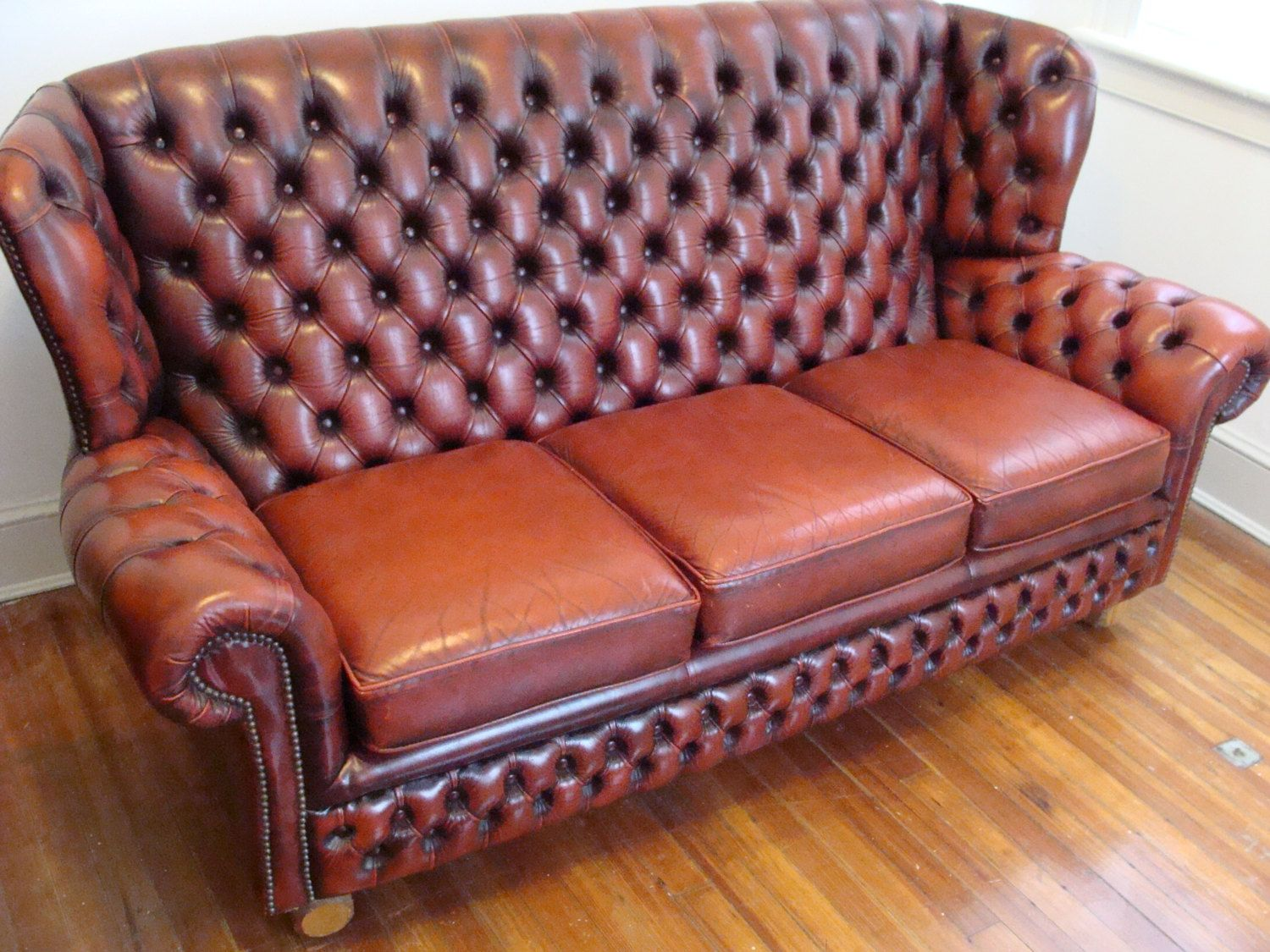 gorgeous vintage english monks sofa tufted high wing back british 3 seater couch 6ft