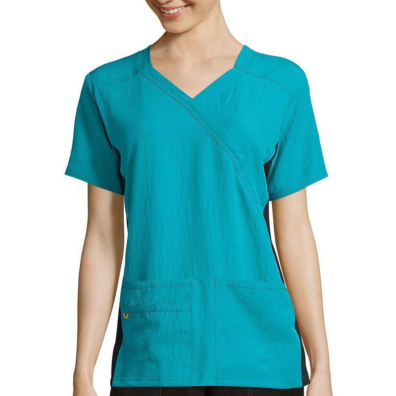 fae3023e0c8 WonderWink Womens Short-Sleeve Mock-Wrap Knit Panel Top - Plus ...