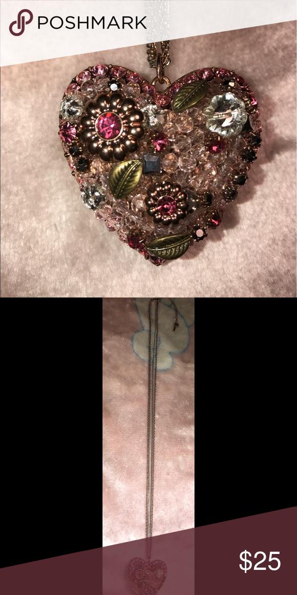 Betsey Johnson heart necklace Betsey Johnson pink heart necklace Betsey Johnson Jewelry Necklaces