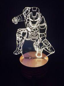 Marvel Hero Iron Man 3d Led Wood Mood Lamp Bulbing Light Art Deco Mood Lamps 3d Led Lamp 3d Illusions