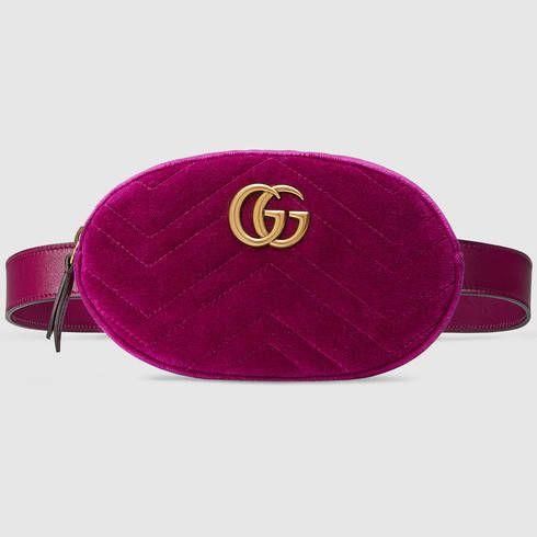 GUCCI Gg Marmont Matelassé Velvet Belt Bag.  gucci  bags  leather  belt bags   velvet