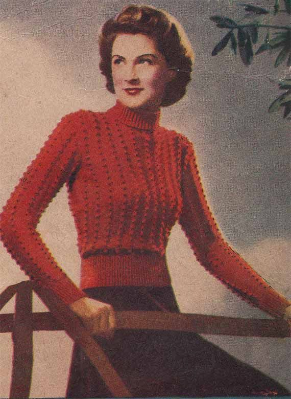 c13804d508b Vintage 1940s Knit Pattern for WOMAN'S SWEATER in textured bobble ...