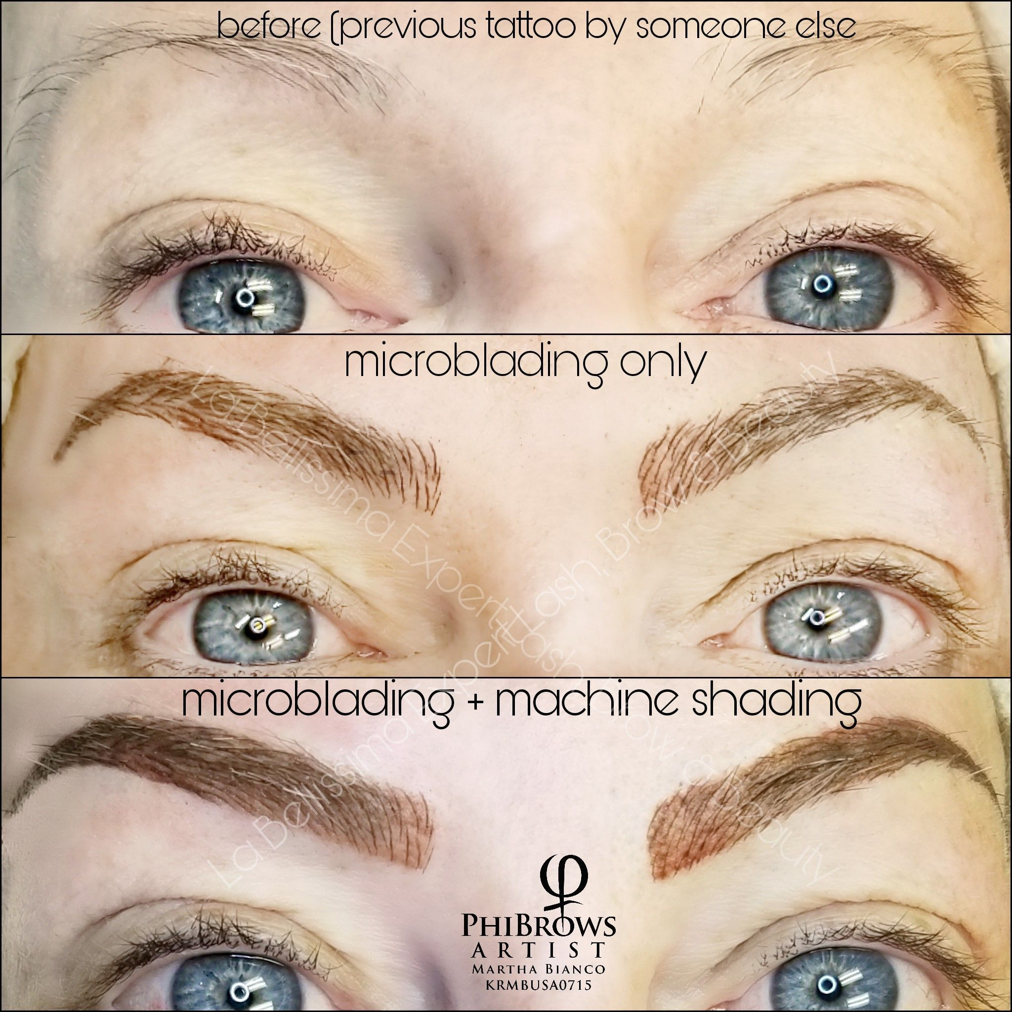 This series shows the difference between microblading only