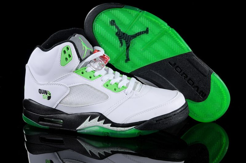 9c7096e9ab5 Air Jordan 5 V Retro Embroidery Black White Green Shoes AJ5-025 ...