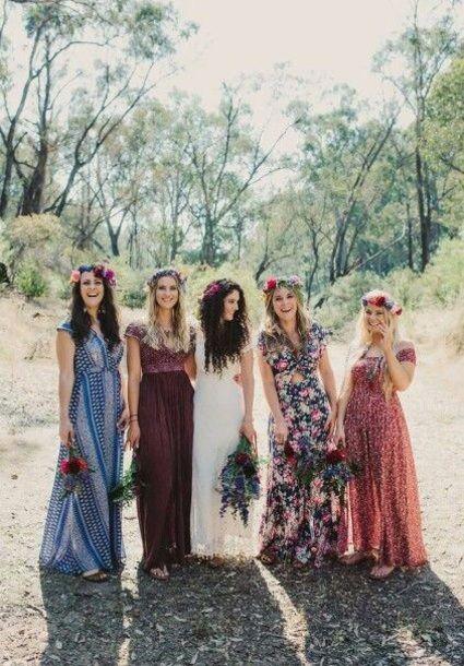 Alternative Bridesmaid Boho Chic Summer Spring Outfit Ideas Fl Flower Garland Headbands Tribal Patterned Print