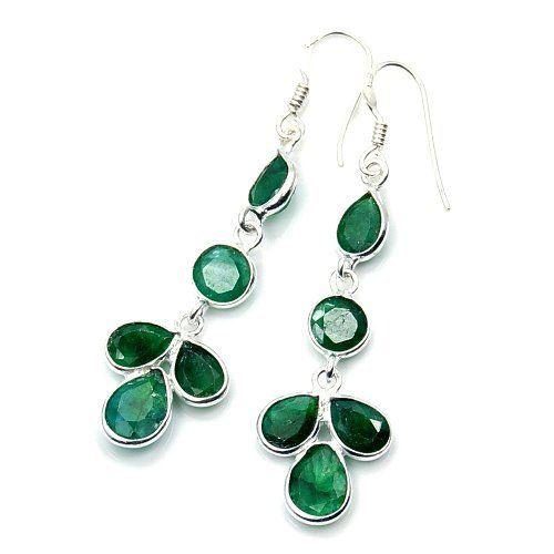Lovely Sterling Silver Emerald Dangle Earrings Price 43 75 Http Silverplazajewelry