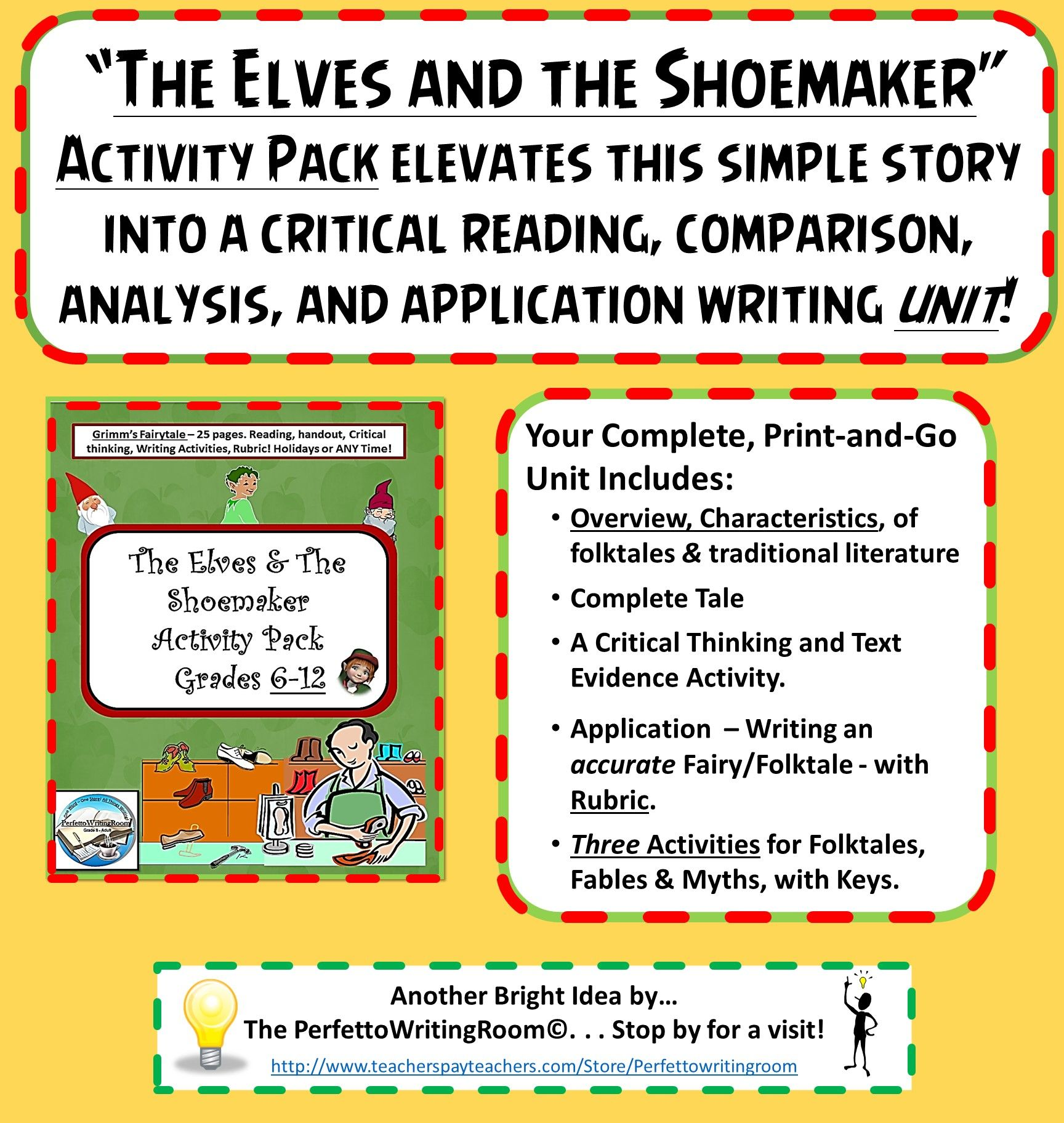 This Complete Unit The Elves And The Shoemaker Is Ideal For Grades 6 12 Includes Critical Thinking Activities Text Evidence Activities Junior High Teachers