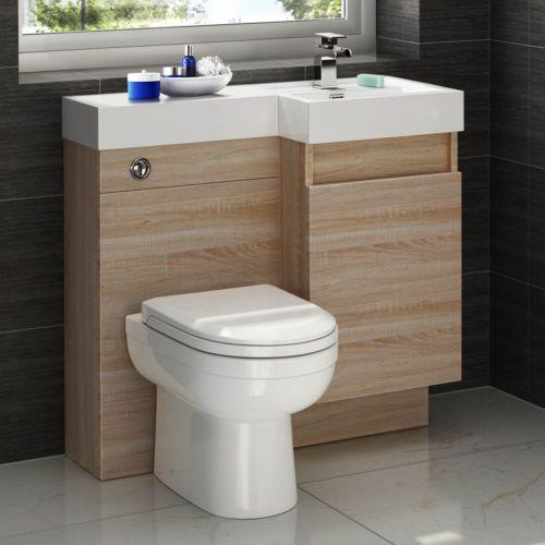 Modern Oak Bathroom Vanity Unit Countertop Basin Back To Wall Toilet Mv2724