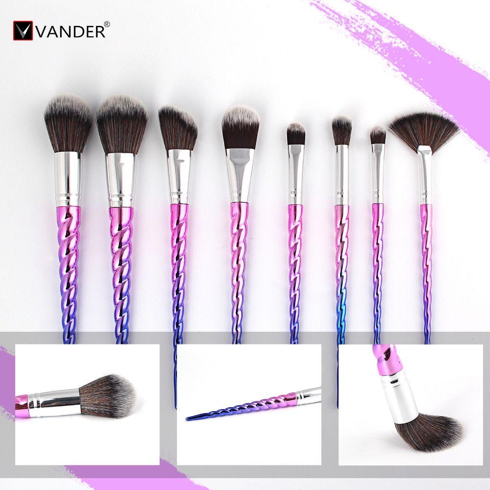 Vander Professional 8PCS Makeup Brushes Set Eyebrow Eyeliner Blush Blending Contour Foundation Cosmetic Kits Pincel Maquiagem