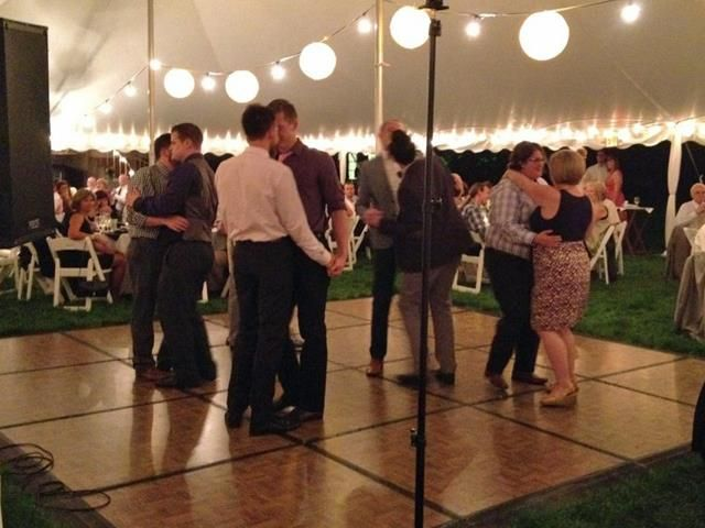 "The first dance at an Indianapolis couple's wedding is creating national buzz. Instead of the bride and groom taking to the floor, they called up their gay and lesbian friends, who can't legally marry in Indiana, and they danced to The Beach Boys' ""Wouldn't It Be Nice"""