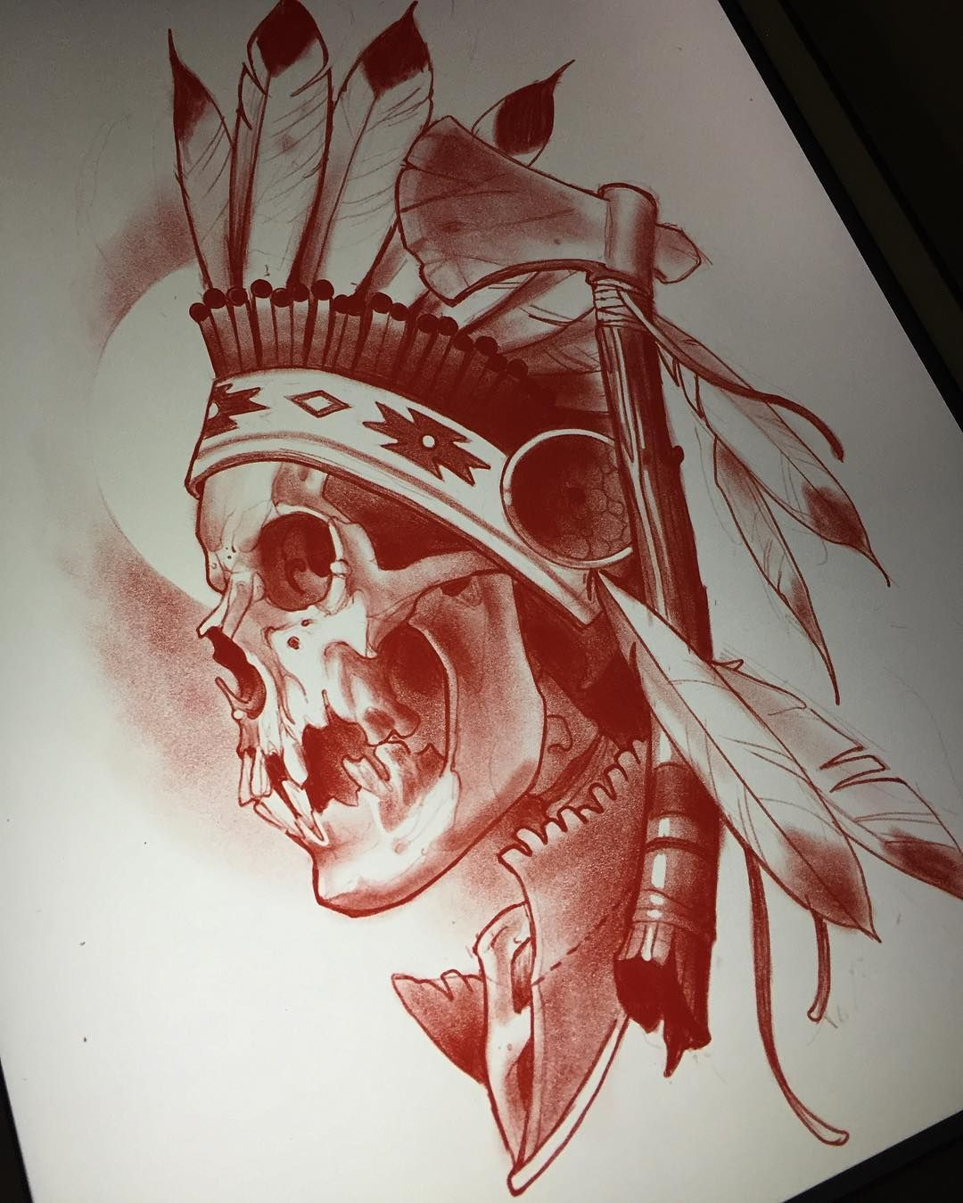Merican Reaper Indian Skull Tattoos Indian Tattoo Art