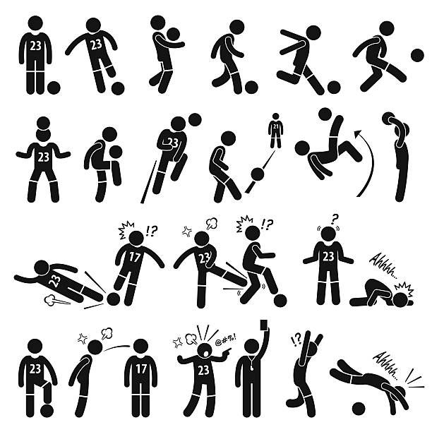 Football Soccer Player Footballer Actions Poses Stick Figure Pictogram Icons Vector Art Illustration Soccer Player Tattoos Soccer Players Pictogram