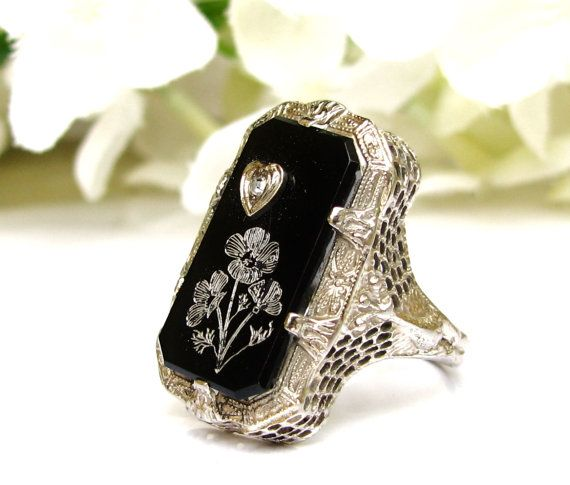 Antique Onyx & Diamond Ring Heart Motif Edwardian Engagement Ring 14K White Gold Filigree Peacock Wedding Ring Unique Engagement Ring!